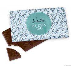 Kleine Schokolade 40g HEUTE IST DEIN TAG! - blau gepunktet