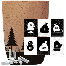 Adventskalender Set X-MAS WALD BLACK & WHITE