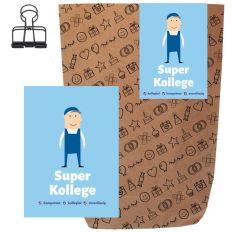 Geschenktüte + Grußkarte SUPER KOLLEGE - zum Befüllen