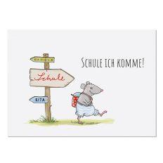 Postkarte SCHULE ICH KOMME!