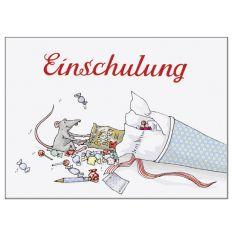Postkarte Schultüte ZUR EINSCHULUNG