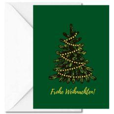 Personalisierbare Weihnachtskarte FROHE WEIHNACHTEN! - LICHTERKETTE