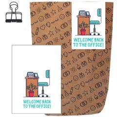 Geschenktüte + Grußkarte WELCOME BACK TO THE OFFICE!