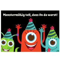 Minicard Mitgebsel MONSTERMÄSSIG TOLL, DASS DU DA WARST!