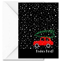 Personalisierbare Weihnachtskarte FROHES FEST! - Auto