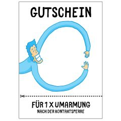 Postkarte GUTSCHEIN 1 x UMARMUNG