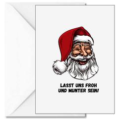 Personalisierbare Weihnachtskarte LASST UNS FROH UND MUNTER SEIN!