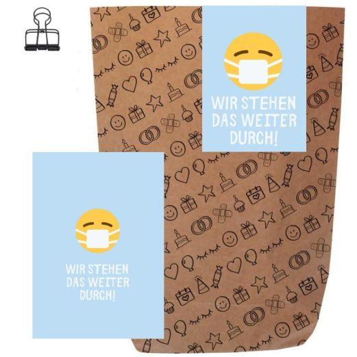 Geschenktüte + Grußkarte WIR STEHEN DAS WEITER DURCH! - zum Befüllen