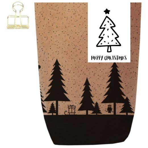 Geschenktüte X-MAS WALD - HAPPY CHRISTMAS BAUM - zum Befüllen