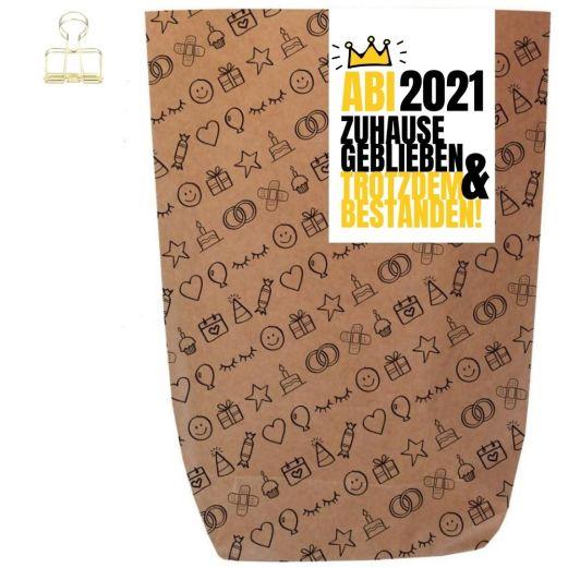 Geschenktüte ABI 2021 ZUHAUSE GEBLIEBEN - zum Befüllen