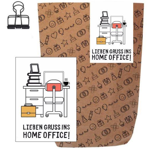 Geschenktüte + Grußkarte LIEBEN GRUSS IN HOME OFFICE!