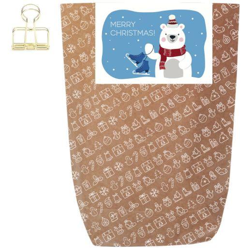 Geschenktüte X-MAS ICON - MERRY CHRISTMAS POLAR BEAR - zum Befüllen