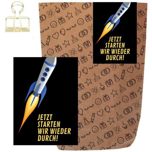 Geschenktüte + Grußkarte JETZT STARTEN WIR WIEDER DURCH!
