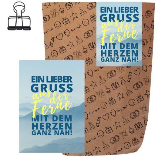 Geschenktüte + Grußkarte EIN GRUSS AUS DER FERNE