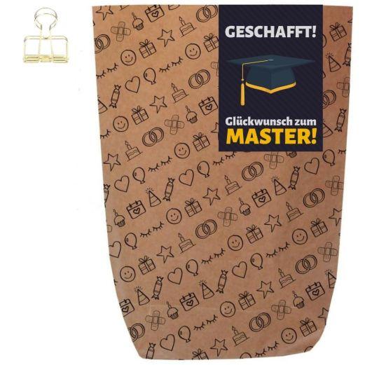 Geschenktüte GLÜCKWUNSCH ZUM MASTER! - zum Befüllen