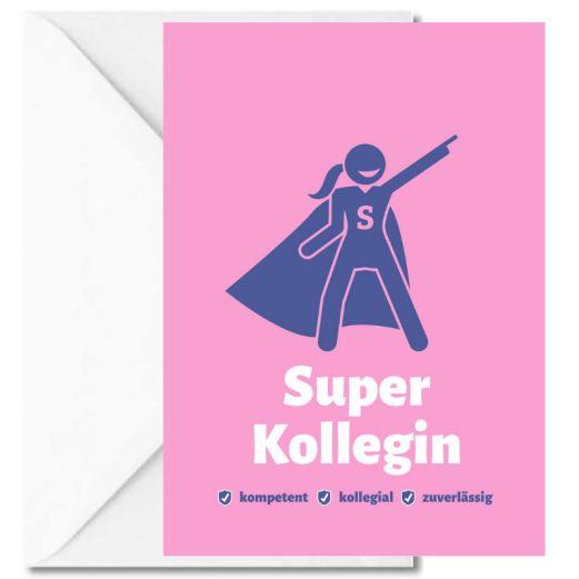 Personalisierbare Grußkarte SUPER KOLLEGIN