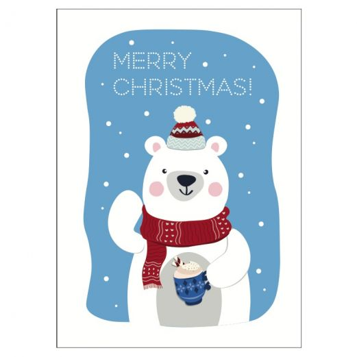 Personalisierbare Weihnachtskarte MERRY CHRISTMAS - BEAR