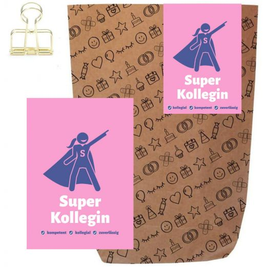Geschenktüte + Grußkarte SUPER KOLLEGIN - zum Befüllen