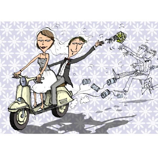 Hochzeitskarte JUST MARRIED VESPA