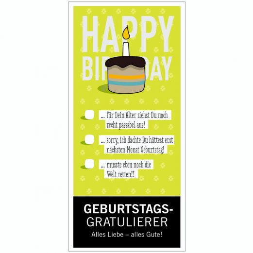 Vollmilchschokolade GEBURTSTAGSGRATULIERER - zum Ankreuzen